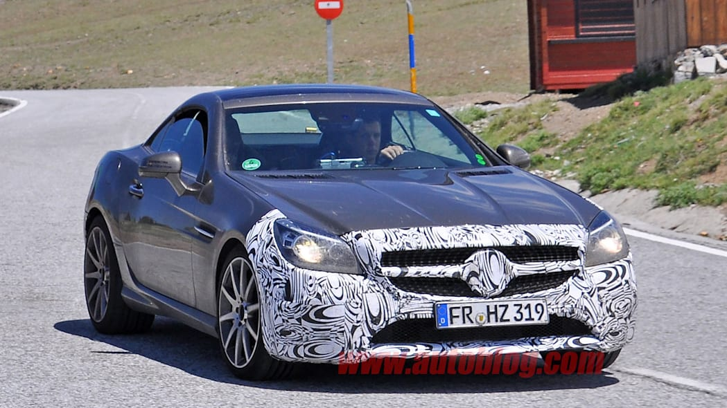 mercedes slc front bumper and grille camouflage spy shot
