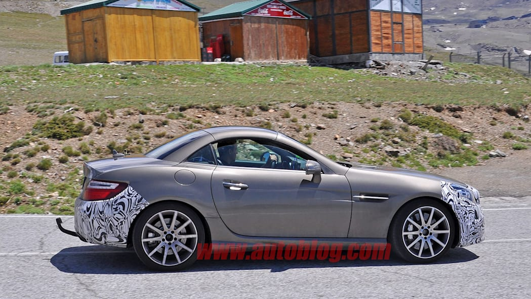 mercedes slc front bumper and rear camouflage spy shot