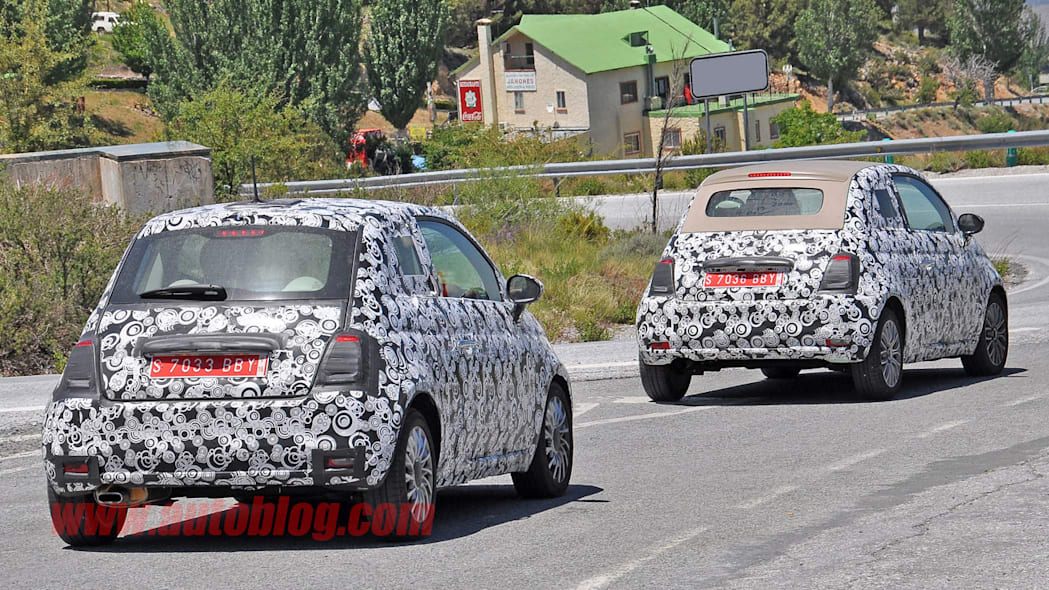 camouflaged fiat 500 and 500c rear spy shots