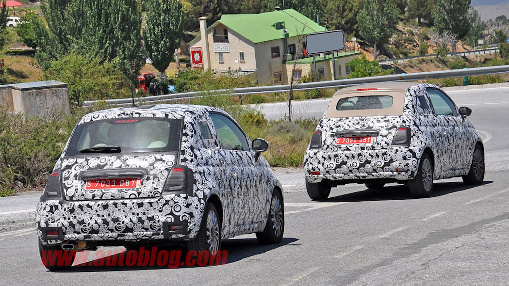 camouflaged fiat 500 and 500c rear three quarters spy shots