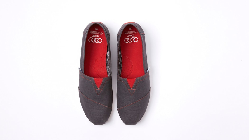 toms audi shoes red gray knit
