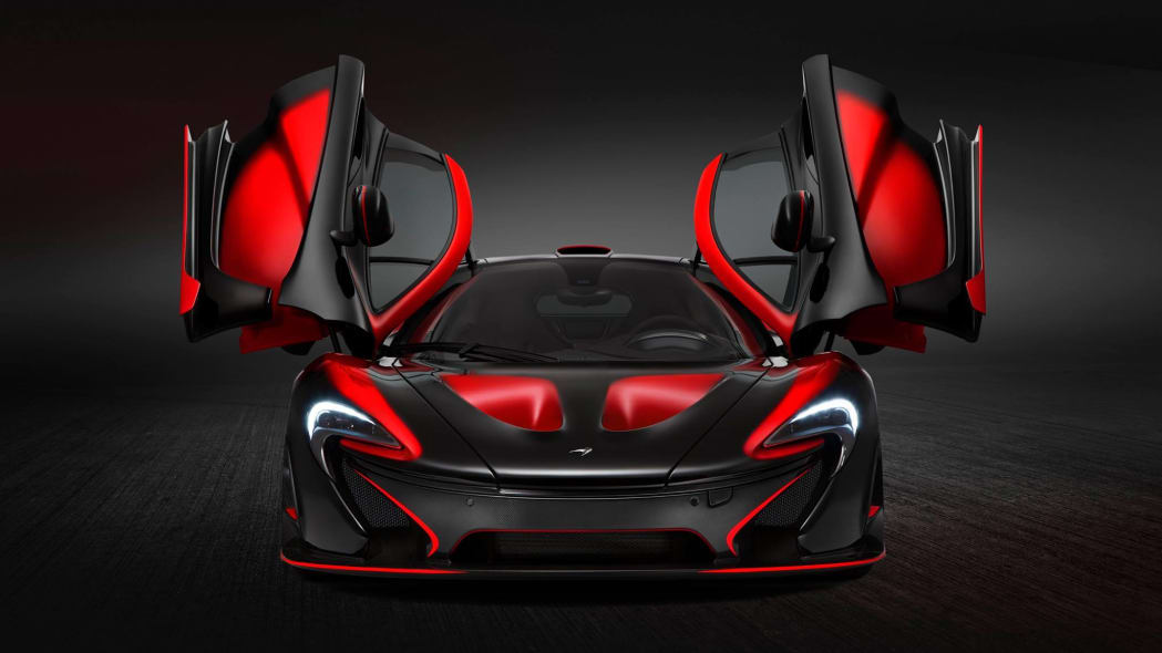 McLaren Special Operations P1 red and black livery front doors up open