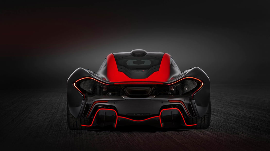 McLaren Special Operations P1 red and black livery rear