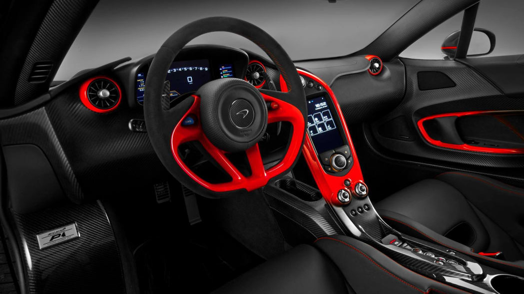 McLaren Special Operations P1 red and black livery interior