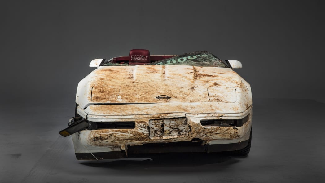 Millionth Corvette damaged in sinkhole front view