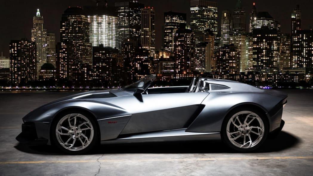 gray rezvani motors beast at night