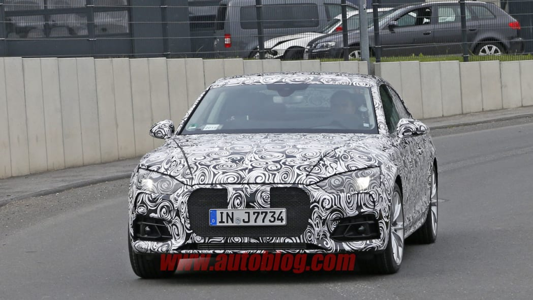 camouflaged audi s5 spy shot front end