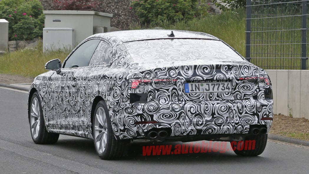 camouflaged audi s5 spy shot dual exhaust