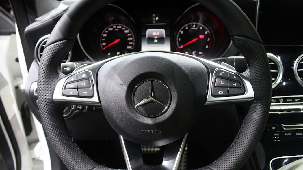 2016 Mercedes-Benz GLC 250d steering wheel.