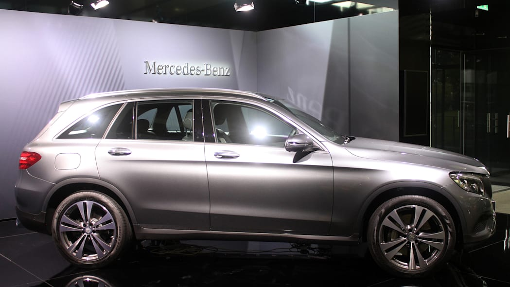 The 2016 Mercedes-Benz GLC 350e unveiled in Stuttgart, side view.