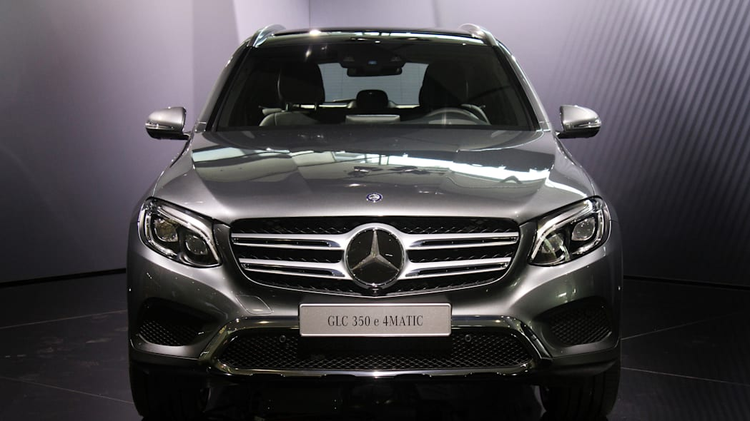 The 2016 Mercedes-Benz GLC 350e unveiled in Stuttgart, front view.