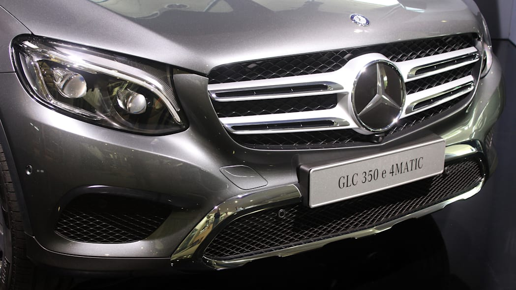 The 2016 Mercedes-Benz GLC 350e unveiled in Stuttgart, front close-up.