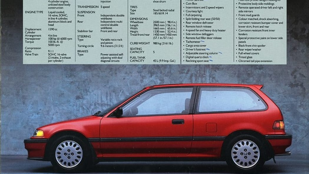 1989 honda civic si red side brochure