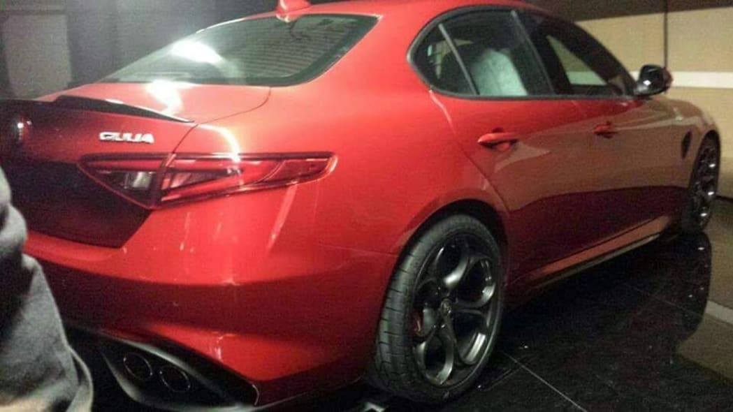 red alfa romeo giulia rear spy shot rear