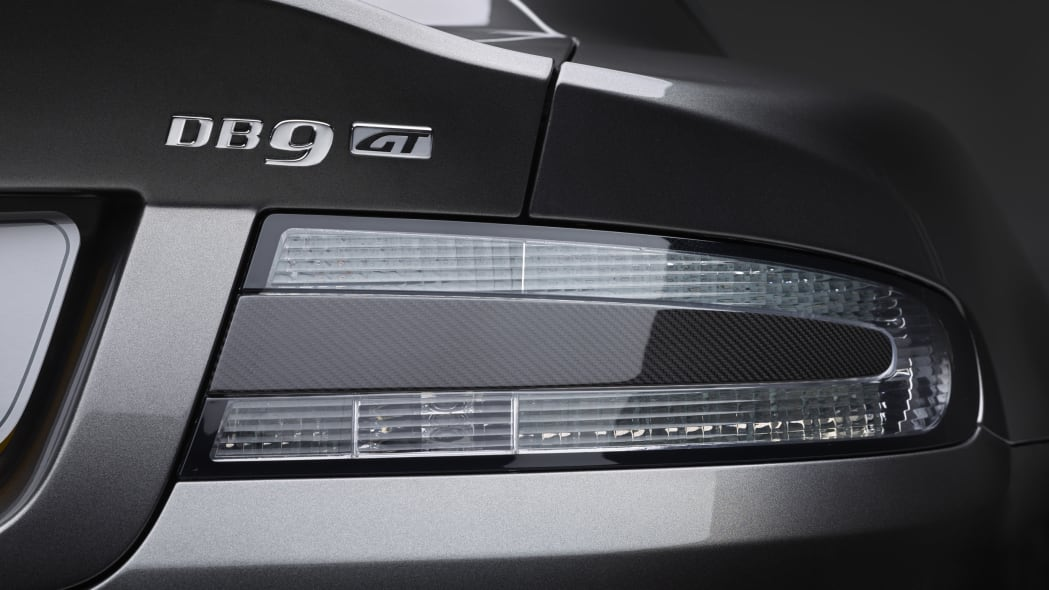 silver 2016 aston martin db9 gt badge and taillights