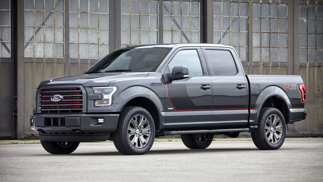gray 2016 ford-150 lariat appearance package front three quarters