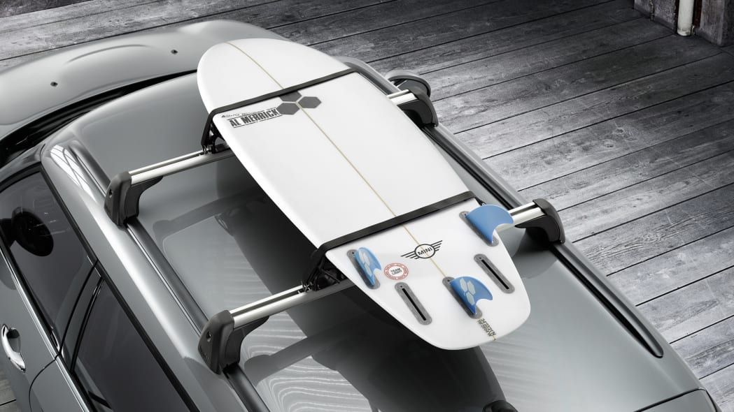 2016 Mini Clubman roof rack surf board
