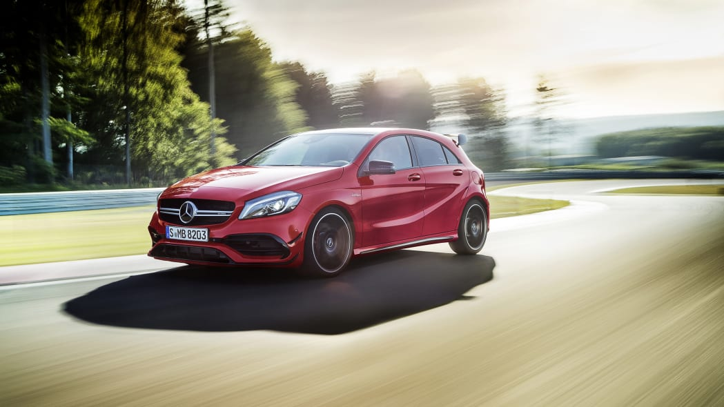 Mercedes-AMG A45 4Matic front three-quarter track dynamic.