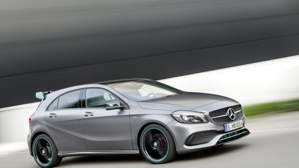 Mercedes-Benz A250 Motorsport Edition front three-quarter dynamic.