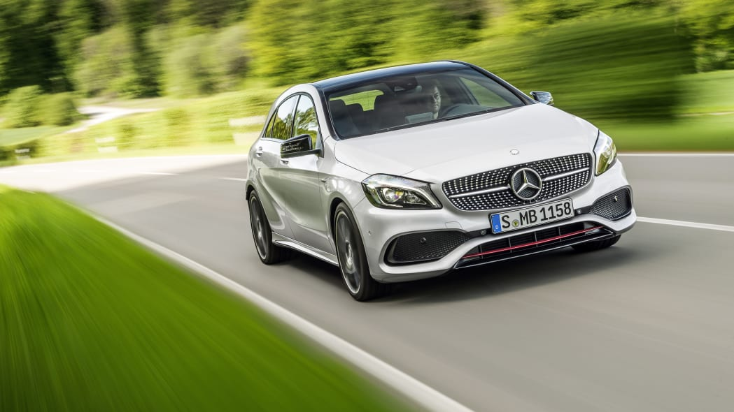 Mercedes A250 AMG Sport Line front three-quarter dynamic.