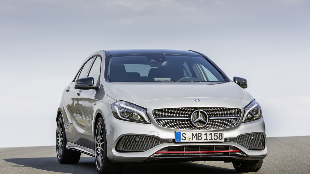 Mercedes A250 AMG Sport Line front three-quarter static.