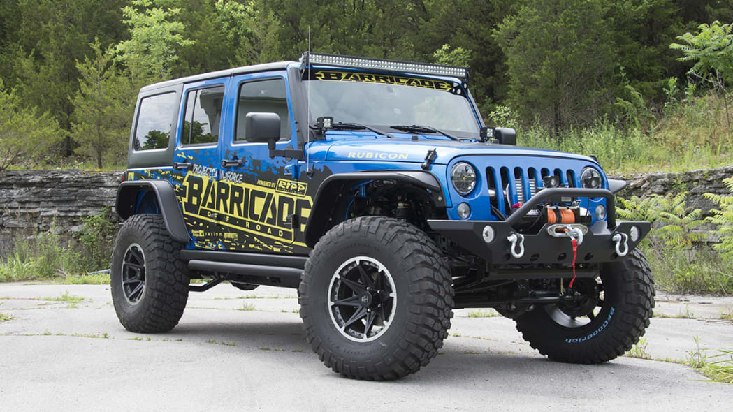 Project Trail Force 2015 Jeep Wrangler Rubicon, front three-quarter view.