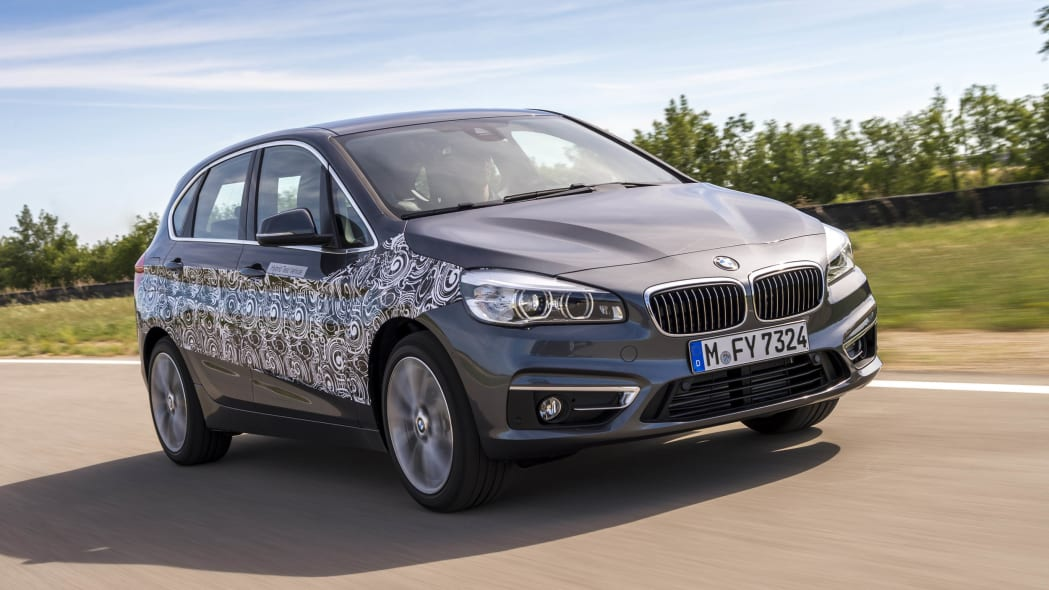 gray bmw 2 series active tourer plug-in hybrid prototype front three quarters