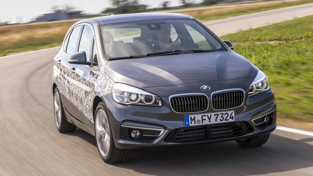 gray bmw 2 series active tourer plug-in hybrid prototype track