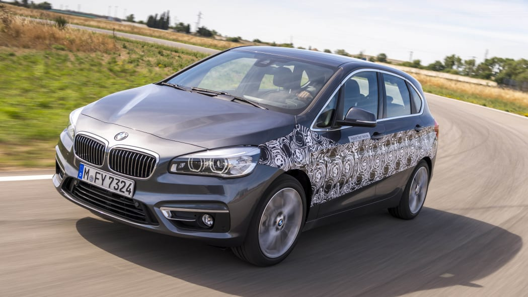 gray bmw 2 series active tourer plug-in hybrid prototype front