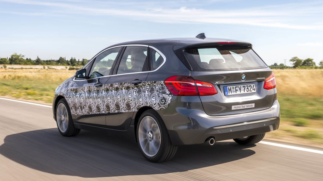 gray bmw 2 series active tourer plug-in hybrid prototype rear three quarters