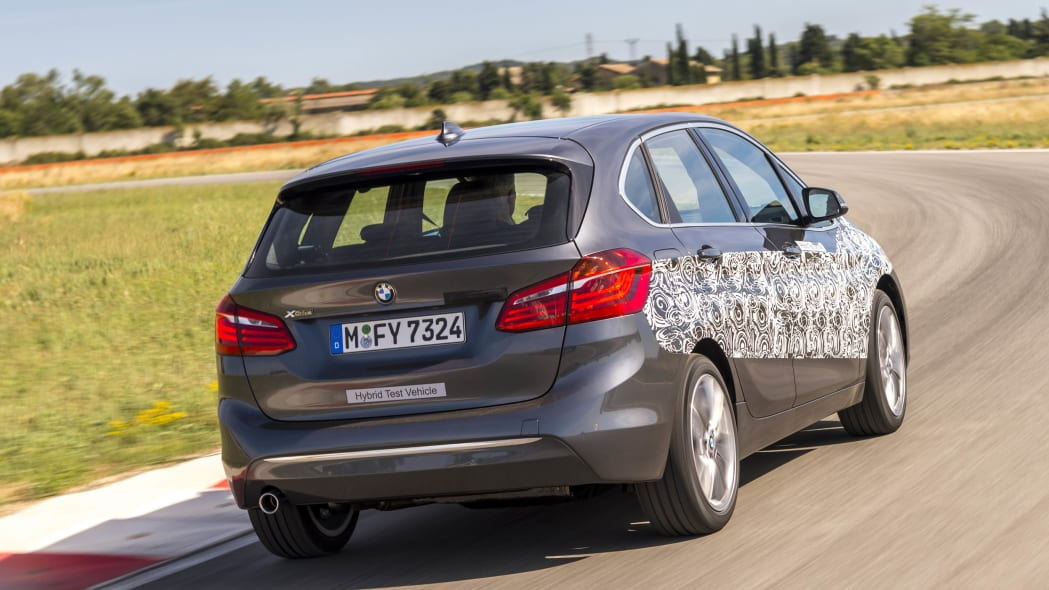 gray bmw 2 series active tourer plug-in hybrid prototype rear end