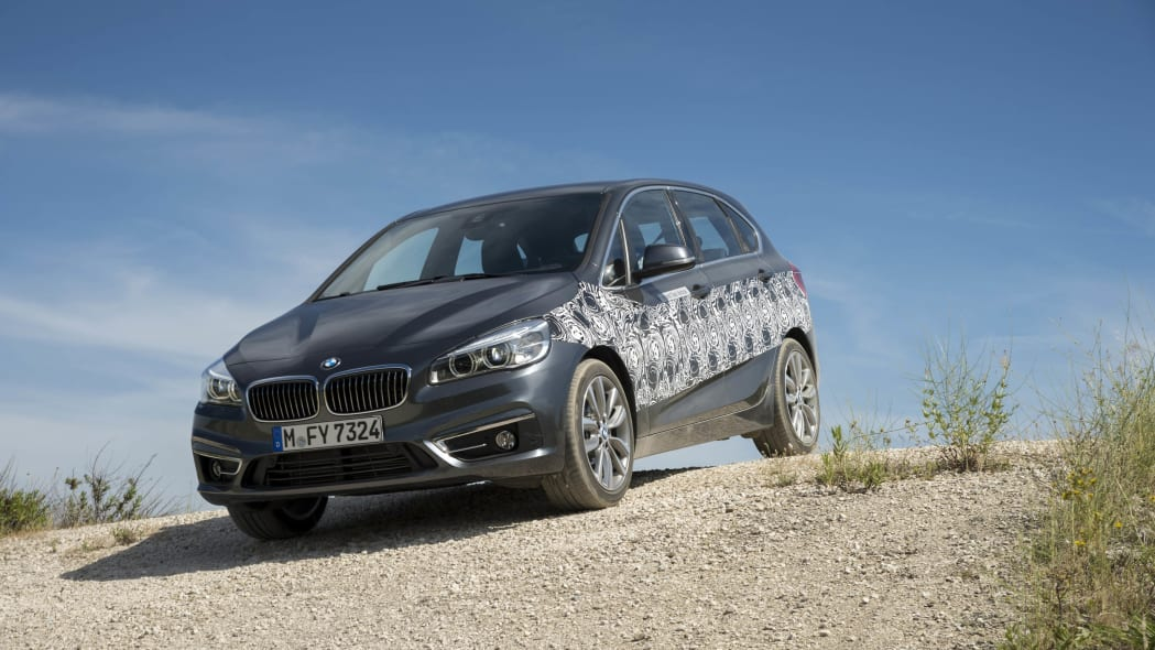 gray bmw 2 series active tourer plug-in hybrid prototype hill