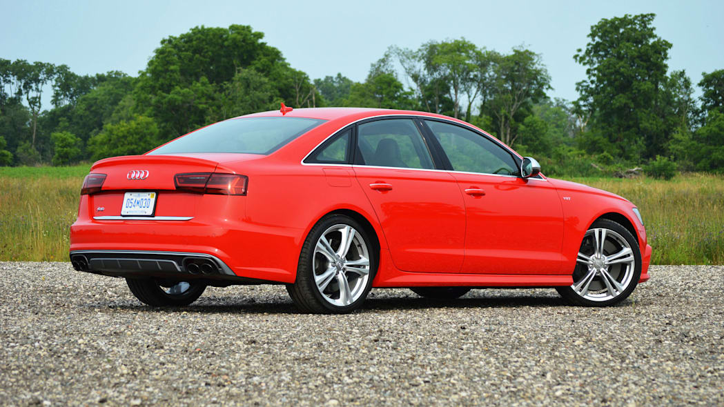 2016 audi s6 red back side view
