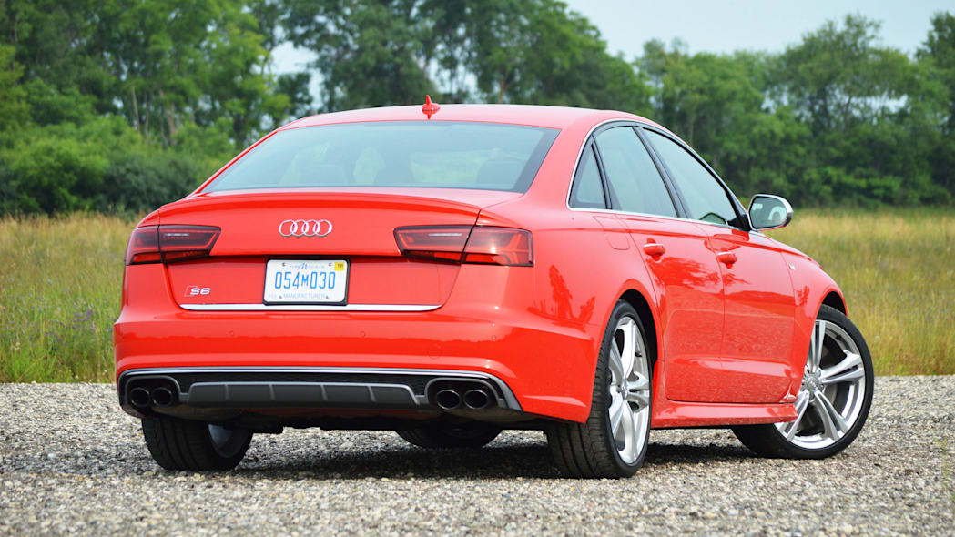 2016 audi s6 red back view
