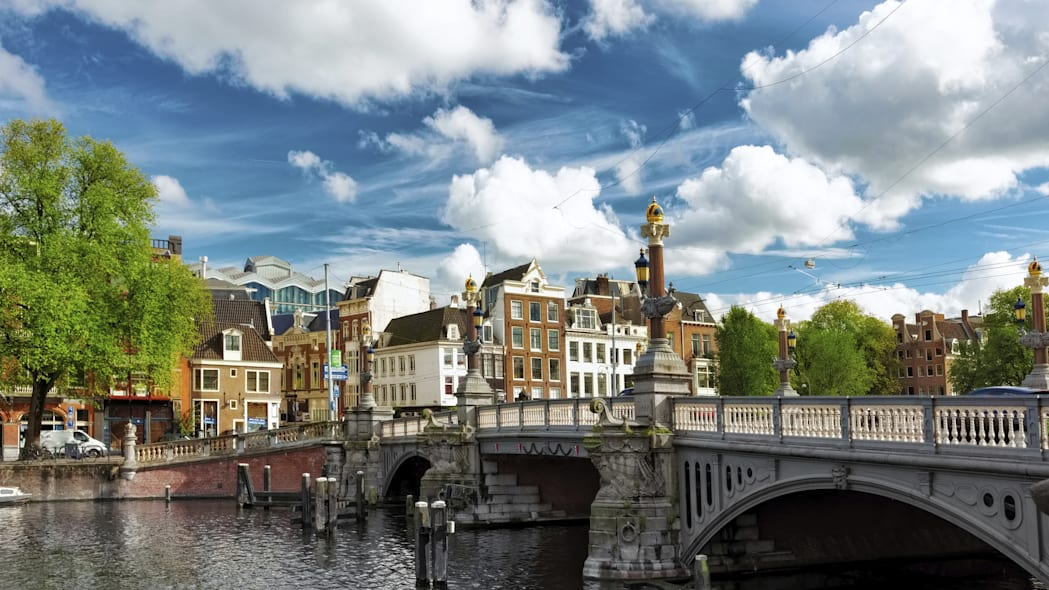 Amsterdam with canal in the downtown Holland.