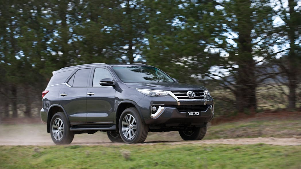 Toyota Fortuner SUV front 3/4 moving