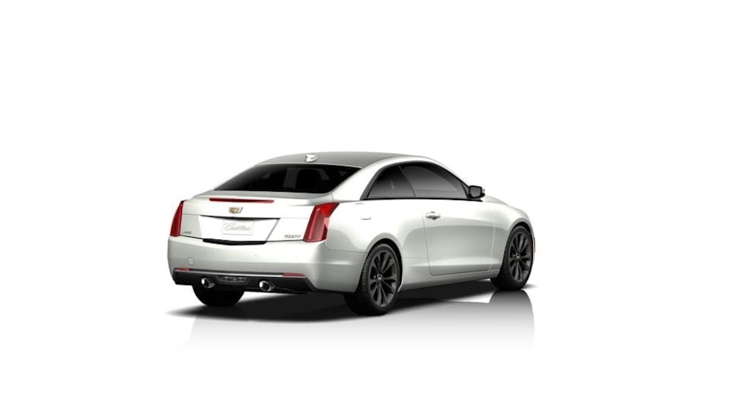 The Cadillac ATS Midnight Edition coupe, rear three-quarter view.