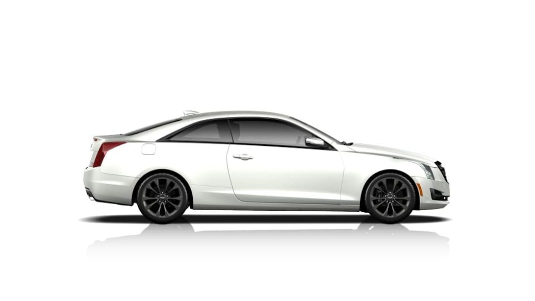 The Cadillac ATS Midnight Edition coupe, side view.
