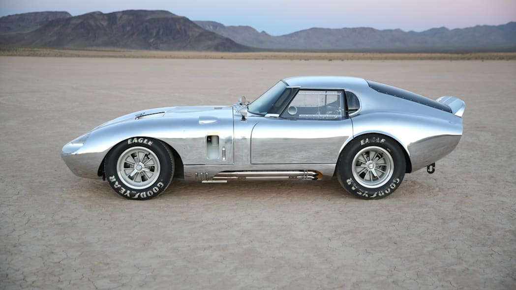 The aluminum Shelby American Continuation Daytona Coupe, side view.