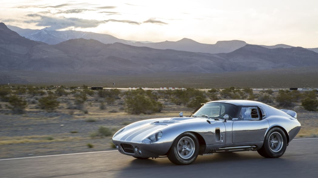 The aluminum Shelby American Continuation Daytona Coupe, three-quarter view.