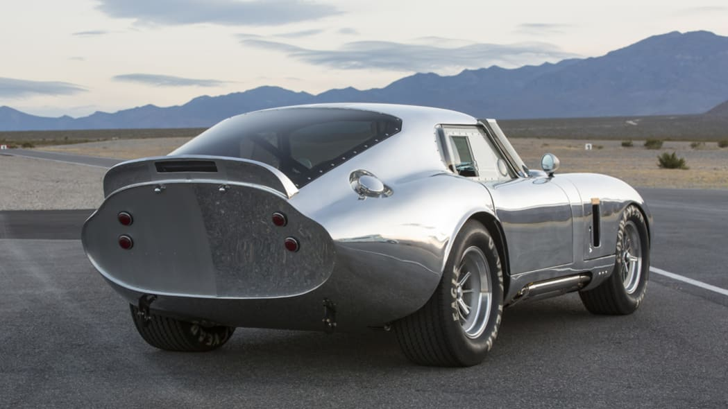 The aluminum Shelby American Continuation Daytona Coupe, rear three-quarter view.