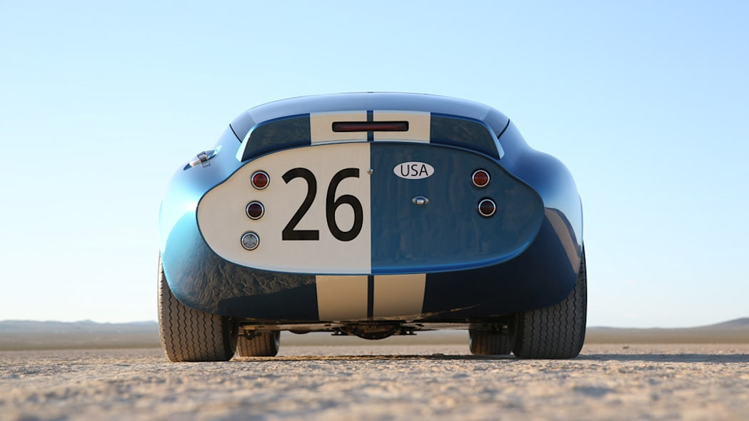 The fiberglass Shelby American Continuation Daytona Coupe, rear view.