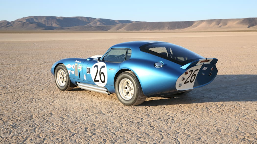 The fiberglass Shelby American Continuation Daytona Coupe, rear three-quarter view.