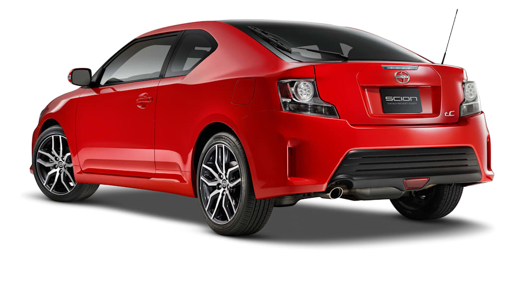 The 2016 Scion tC, rear three-quarter view.