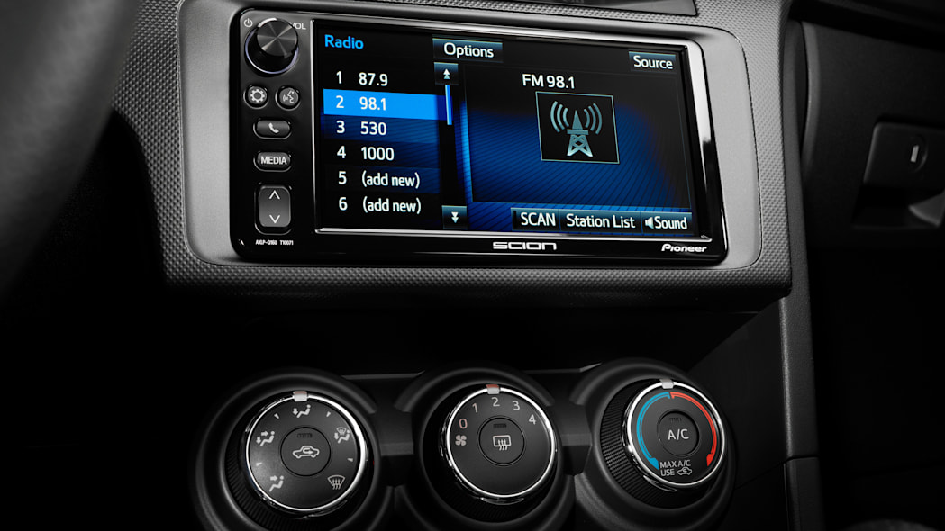 The 2016 Scion tC's Pioneer Display Audio touchscreen.