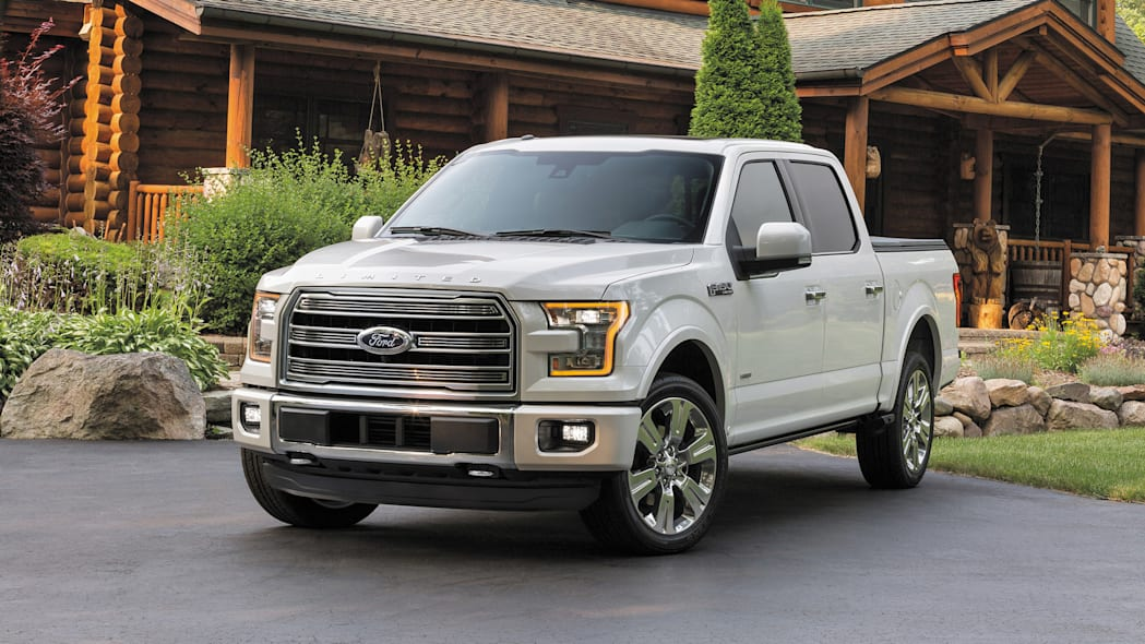 The 2016 Ford F-150 Limited, front three-quarter view.