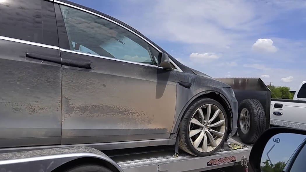 A Tesla Model X on a trailer in Arizona after some offroad testing.