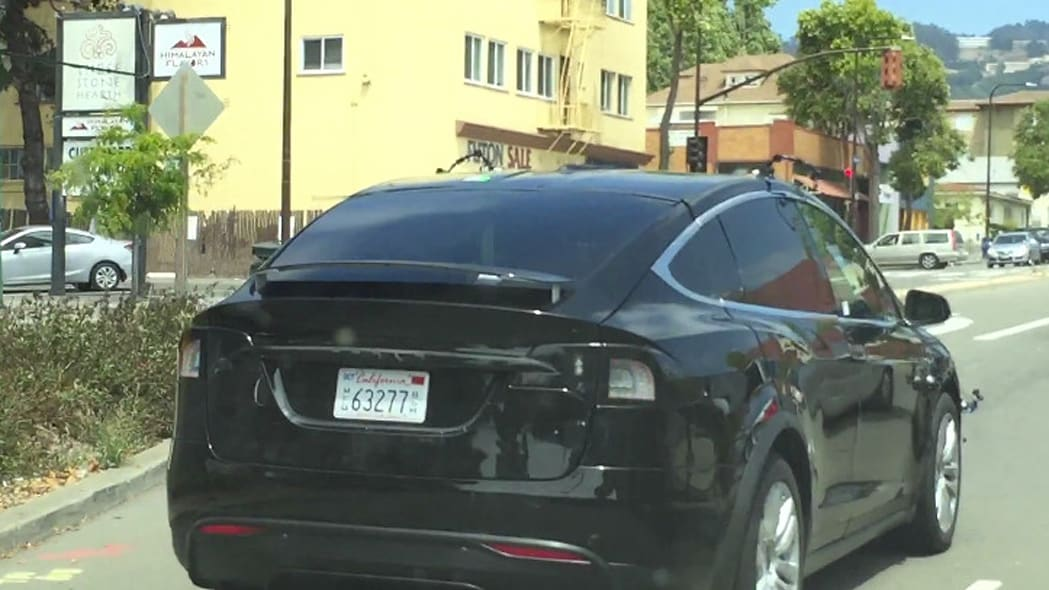 A Tesla Model X in California with unknown sensors attached.