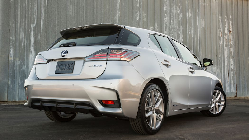The 2016 Lexus CT 200h, rear three-quarter view.