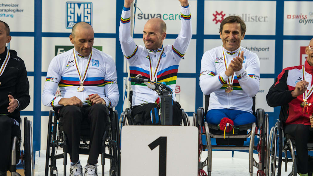 Team Italy Para-Cycling Championship podium